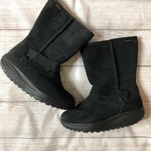 Skechers Shape Up Womens Sz 6 Black Suede Boots